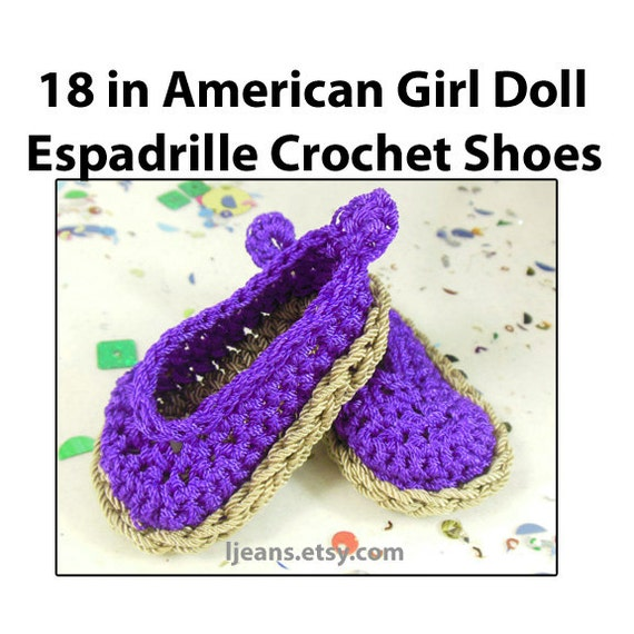 18 in Purple American Gril Doll Crochet Espadrille Shoes
