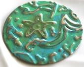 Handmade Embossed Pendant, Patina Starfish pendant, Green Pendant, Aqua Pendant, Beach Component, Aqua Pendant, Ocean Focal, Jewelry Supply