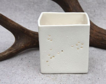 Candle Holder in Porcelain with Zodiac Constellation - Made to Order