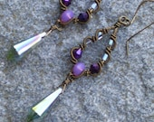 Vintage inspired bronze wire wrapped earrings with purple and gray crystals and stunning gray AB crystal briolettes