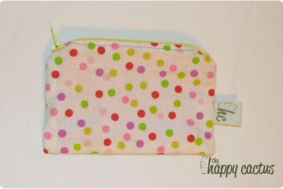 Neon Polka Dot Pouch with Yellow Zipper