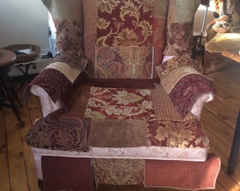 Patchworked Wingback Chair