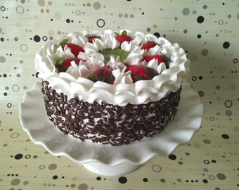 Fake Cake ~ Fake Food ~ Faux Cake ~ Artificial Cake Strawberry  Kiwi Chocolate  Artificial Cake ~ Home Staging Food ~ Display Cake