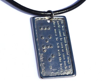 Helen Keller LOVE Pendant in Braille Jewelry in Braille
