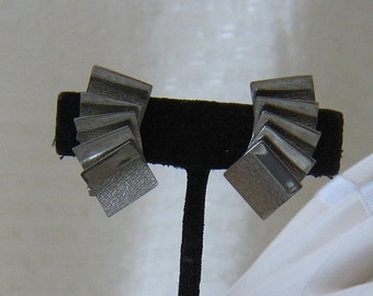 Vintage Silver Tone Layered Square Clip Ons
