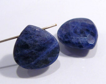 Blue Sodalite Faceted Gemstone Briolette Beads......2 Beads.....15x15mm