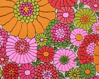 1970's Vintage Wallpaper Bright Orange Pink Red and Green Flowers by the Yard