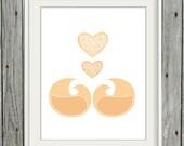 Printable Swedish Love Birds in Peach - 8x10 Digital Art Print - INSTANT DOWNLOAD