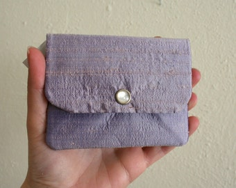 Lavender Dupioni Silk - Cash and Card Wallet with Zipper