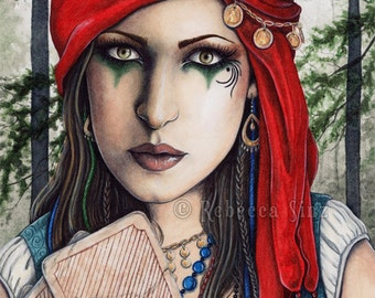 Fortune Teller PRINT Gypsy Fantasy Art Tarot Cards Jewelry Portrait Mystical Psychic Watercolor 3 SIZES