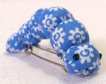 Caterpillar brooch pin insect floral blue cotton fabric