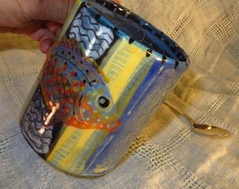 Pam Marwede Ceramic Painted Fish Mug