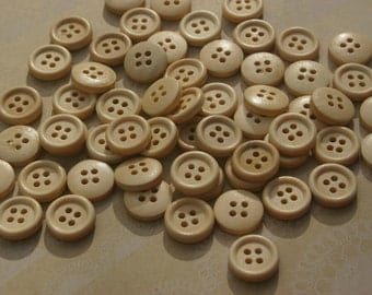 "Natural Wood Buttons - Wooden Sewing Button - 15mm - 5/8"" - 50 Buttons"