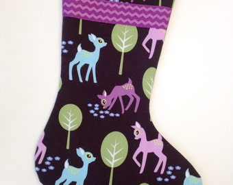 Deer on Brown Christmas on Stocking with Purple Ribbon and Lining