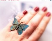 Christmas sale Verdigris pathina butterfly- Vintaj style brass butterfly- Adjustable ring