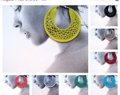 Christmas sale Crocheted Hoops earrings choose your color and size - 9cm,7cm,5cm