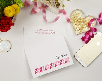 15 Personalized Stationery Note cards Repeating Hearts Set of 12 Folded Notes
