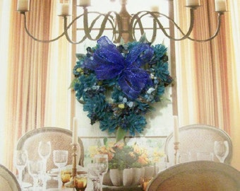 Blue Heart Shaped Wreath Floral Flowers 1:12 Dollhouse Miniature Artisan