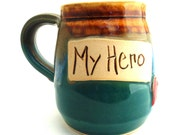 Handmade Pottery Mug pottery and ceramics My Hero teal and brown by Jewel Pottery