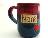 Handmade Pottery Mug ceramics and pottery Nana in Burgundy and Blue by Jewel Pottery