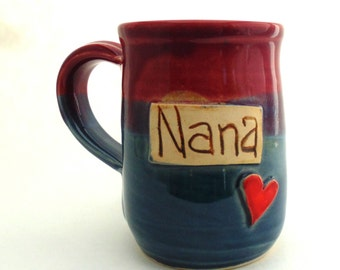 Handmade Pottery Mug ceramics and pottery Nana in Burgundy and Blue by Jewel Pottery