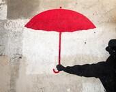 """Paris Photography, """"Red Umbrella"""" Paris Print Extra Large Wall Art Prints, Paris Wall Decor"""