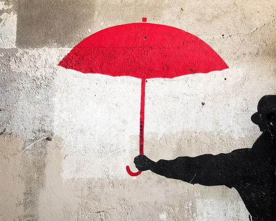 "SALE! Paris Photography, ""Red Umbrella"" Paris Print Extra Large Wall Art Prints, Paris Wall Decor"