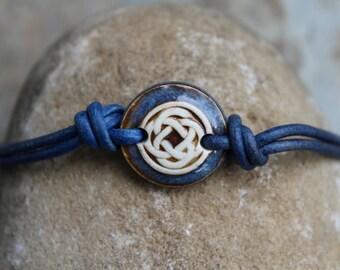 Blue/Brown Celtic Knot Leather Bracelet