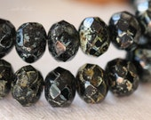 BLACK SEA .. 10 Premium Czech Picasso Black Rondelle Glass Beads 6x8-9mm (04-10)