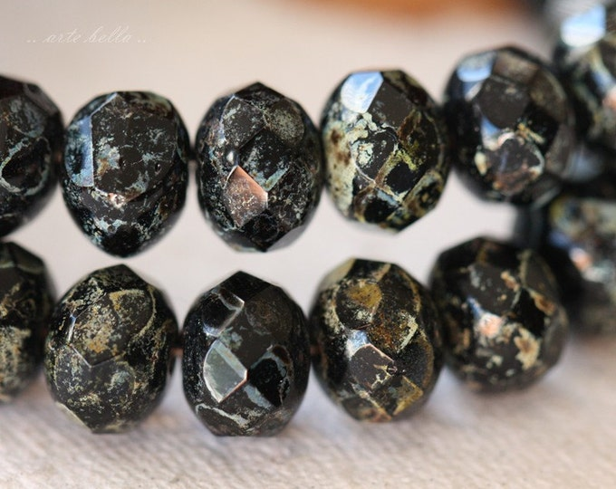 BLACK SEA .. 10 Premium Czech Picasso Black Rondelle Glass Beads 6x8-9mm (04-10)
