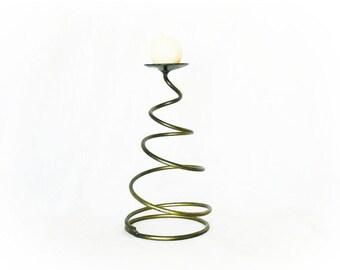 Vintage Spiral Spring Metal Coil Candle Holder Brass Gold