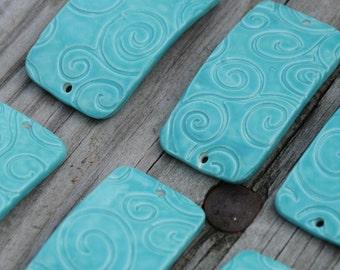 Aqua Fresca Swirl Pottery Bead