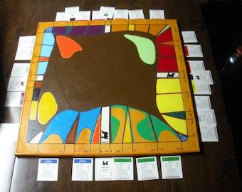 FREE SHIP Handmade, Hand painted Monopoly Modern Art wood wooden Game Board Wall Art BearlyArtDesigns Store