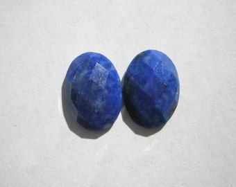 Natural Lapis Faceted Gemstone Cabochons - 14x10mm - 1 pair