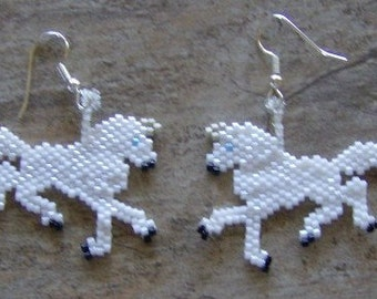 Unicorn Earrings Hand Made Seed Beaded