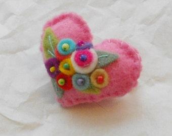 Cotton Candy Pink  Garden Felt Heart Flower Bouquet Pin-Brooch with Pink Blue,White  Flowers
