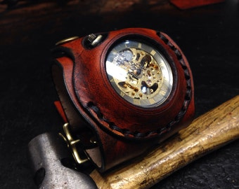 Steampunk pocket watch style leather wrist watch