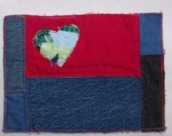 Scrappy Heart Quilted Mug Rug or Denim Blue  Coaster #9