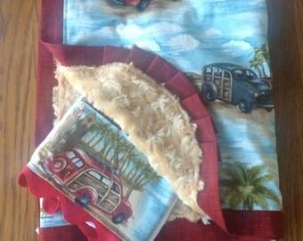 Woody Beach/Hawaiian Surfer Minky Blanket and Burp Cloth Set...PERSONALIZATION AVAILABLE