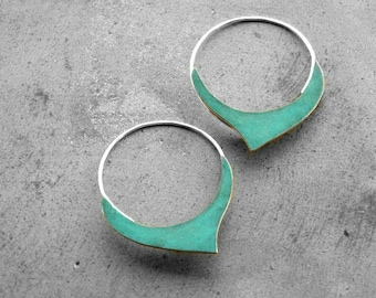 Verdigris Damasque Hoops - copper sterling silver handmade hoops, geometric, blue green patina, made in Italy