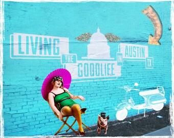 Art Print, Art Image, Collage Print, Vintage Image, Austin, Texas, Digital Art