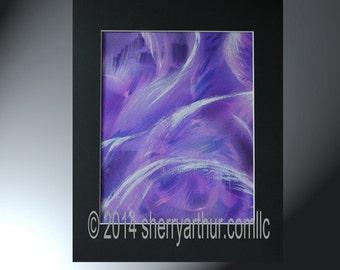 Abstract  Purple Blue White Swirls Original Artwork On Paper Matted 11x14 Unbound