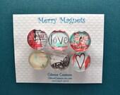 "Set of Magnets   Fridge Magnets  Glass Magnets  ""Love"""