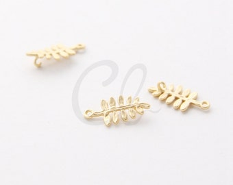 2pcs Premium Matte Gold Plated Brass Base Link or Charm - Leaf 17x8.3mm (1252C-T-259)