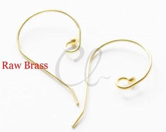 30 Pieces Raw Brass Earring Wire - Earring Hooks 28x17mm (1894C-I-382)