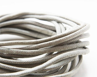 5 Yards of Round Wax Cotton Cord - Zinc 3mm (10)