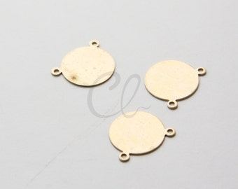 4pcs Brass Metal Blank-Stamp on - Metal stamping - Round with Loops 16mm (210801)