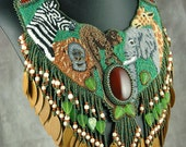 Bead Embroidered Art Neckpiece With Elephant, Giraffe and Zebra