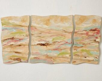 Tile Wall Art Three Panel Wall Hanging Vivid Landscape