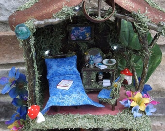 Fairy play House Mushroom in the forest with Led white Lights